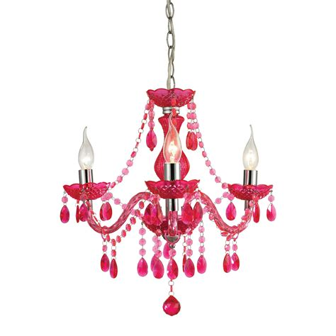 Light Pink Chandelier by Theatre 3 Light Cerise Pink Mini Chandelier