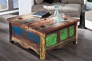 Couchtisch Truhe Holz : massiver couchtisch jakarta 90cm bunt aus recycelten fischerbooten tisch tische ebay ~ Markanthonyermac.com Haus und Dekorationen