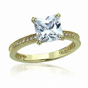 Women 8mm 14k gold 125 carat princess cz solitaire for Cz wedding rings for women