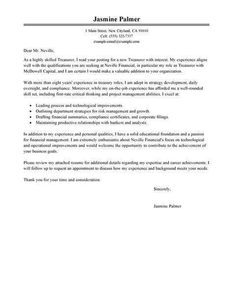 treasurer cover letter examples livecareer