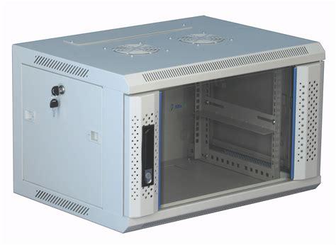 6 He 19 Zoll Wandschrank Weiß Mit Glastür 600x450x368mm
