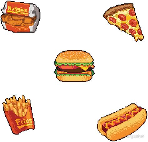 stickers vitres cuisine quot pixel fast food sticker set quot stickers by skywaker redbubble