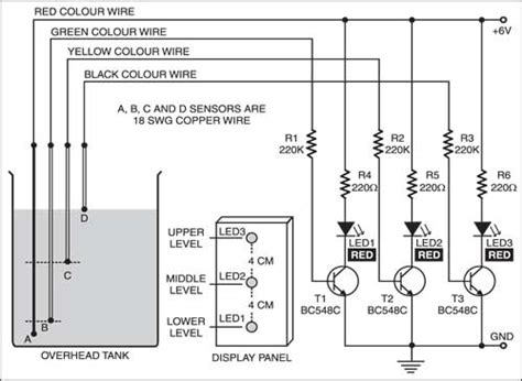 Water Level Indicator Full Circuit Diagram With Explanation