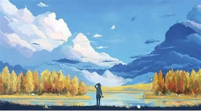 Anime Mountain Forest Landscape Fantasy Artwork Clouds