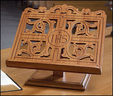 ihs wood carved bible stand