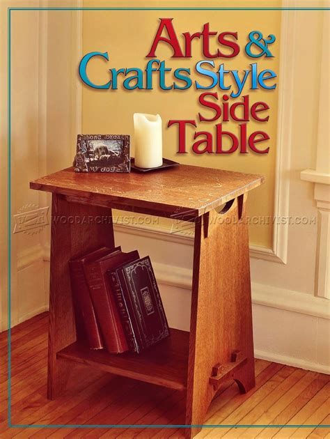 art  crafts style side table plans woodarchivist