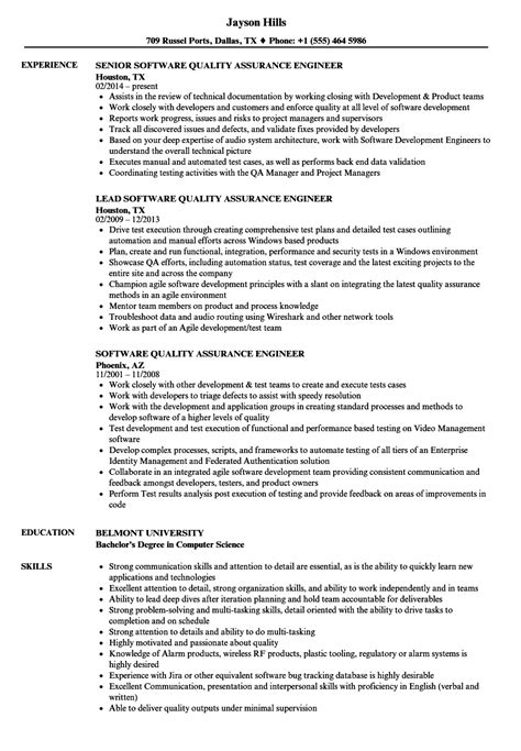 software quality assurance engineer resume sles