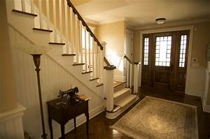 Traditional, Foyer, With, Beautiful, Door, And, Staircase