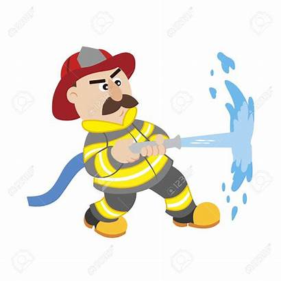 Firefighter Fireman Cartoon Clipart Illustration Vector Firefighting