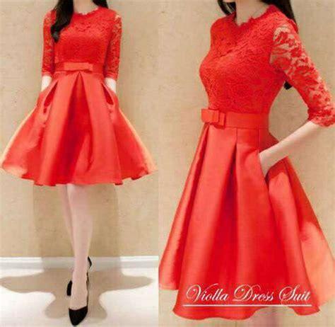 mini dress brukat merah model terbaru cantik modis ryn