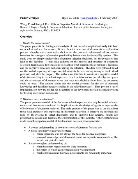 How to critique a journal article. Examples of Nursing Research Critique Paper | Research paper, Nursing research, Curriculum mapping