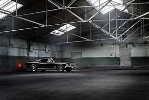 ford mustang fastback classic muscle car black warehouse