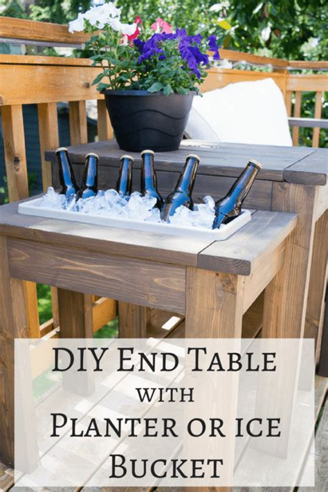 diy  table  built  planter  ice bucket