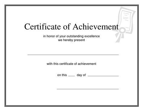 word template certificate  achievement document sample
