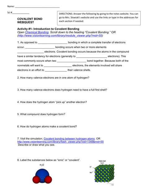 worksheet on chemical bonding valence electrons answer key