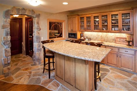 Bar With Granite Top - bars traditional basement minneapolis by