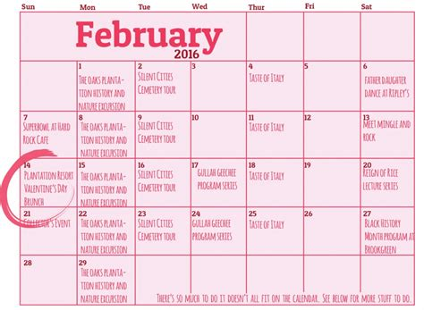 myrtle beach calendar february march