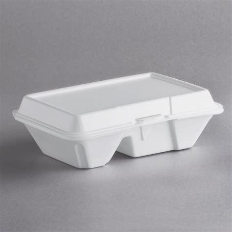 "Dart 205HT2 9"" x 6"" x 3"" White Foam 2 Compartment Take Out ..."