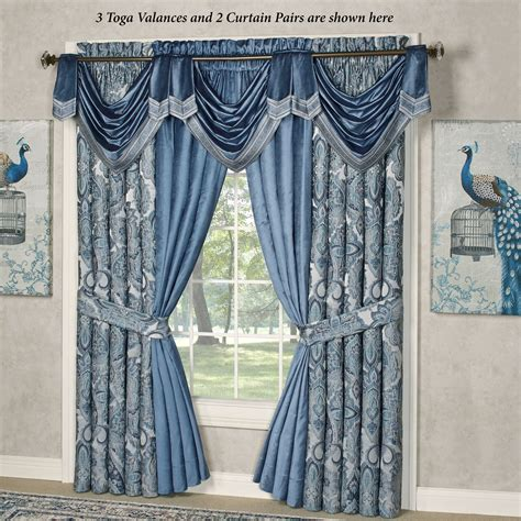 Blue Swag Curtains by Arabelle Blue Toga Swag Valance Window Treatment