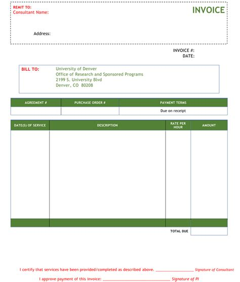 consulting invoice templates   quick invoices