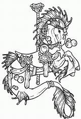 Coloring Carousel Horse Pages Hippocampus Drawing Horses Printable Colouring Adult Carosel Pdf Books Popular Coloringhome Azcoloring sketch template