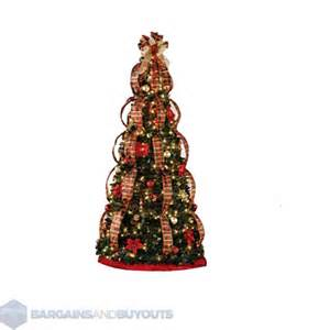 6 pre decorated plaid pull up christmas tree 400 lights 389867 418384 ebay