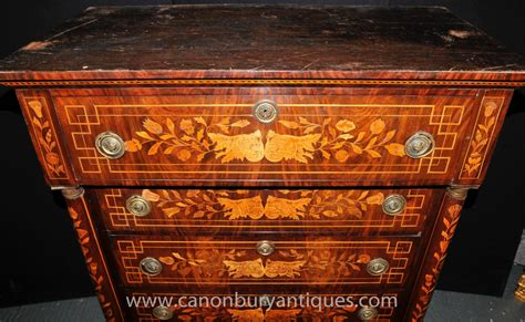Antique 1820 Dutch Marquetry Chest Drawers Tall Boy Inlay White Desk Drawer Unit Name Labels Ks1 Replace Old Kitchen Slides Three Nightstand Best Wood For Drawers 3 Bedside Table Black Cube Storage With