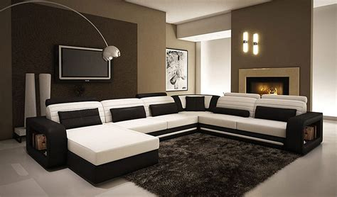 alina contemporary black and white leather sectional sofa