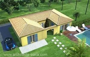 plan de maison individuelle plain pied With delightful plan maison en pente 2 exemples de plans de maisons en corse