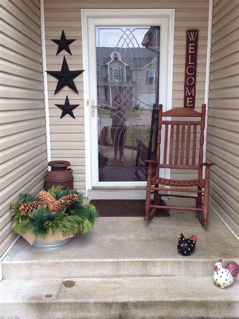 """My Primitive Porch Barn Stars, A Nice Big """"welcome"""" Sign"""