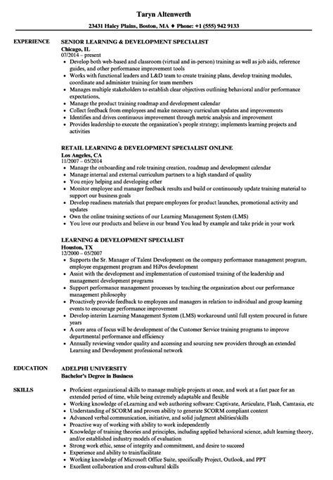 learning development specialist resume sles velvet