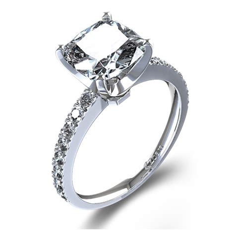 cusion cut engagement ring cushion cut engagement ring in 14k white gold