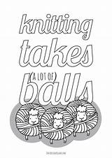 Knitting Coloring Balls Takes Yarn Printables Adults Square Such Printable Lots sketch template