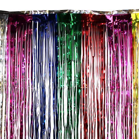 3 x8 ft rainbow curtain metallic fringe foil