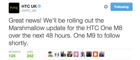 htc to roll out marshmallow update for one m8 within 48 hours in the uk one m9 will follow