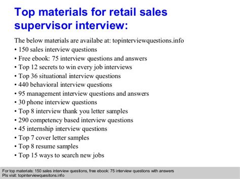 Retail Sales Questions From Manager by Retail Sales Supervisor Questions And Answers