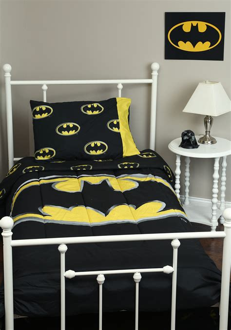 batman logo queen 3pc comforter set