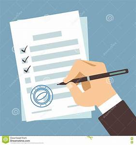 agreement concept hand signing of contract vector With documents cartoon images