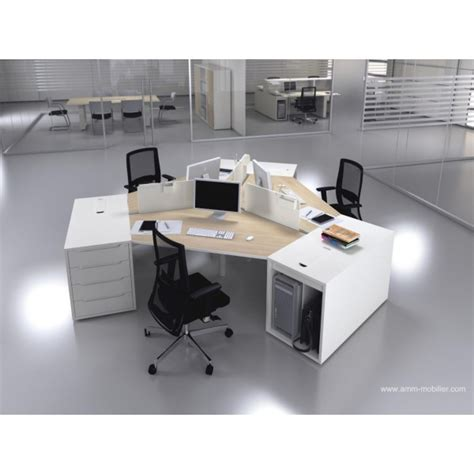 bureau opératif 120 degrés logic bois naturel et blanc