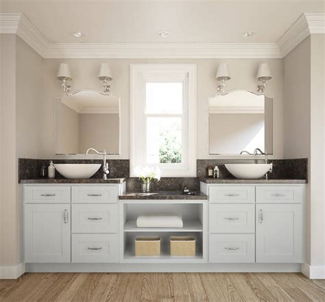 frosted white shaker ready  assemble bathroom vanities