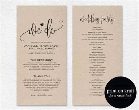 etsy wedding program template wedding program template wedding program printable we do