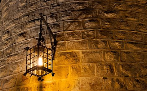 wall lamp light brick wall curved metal light bulb lantern
