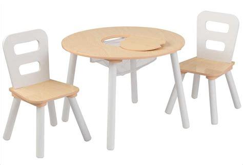table ronde et chaises table ronde en bois pour enfant et 2 chaises grises