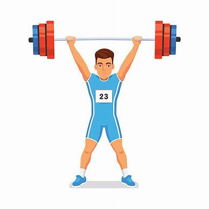Weightlifting Weightlifter Sportsman Olympic Strong Vector Training