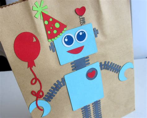 Robot Party Favor Bag Birthday Gift Bag Gift Wrapping