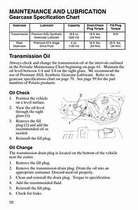 Maintenance And Lubrication  Gearcase Specification Chart