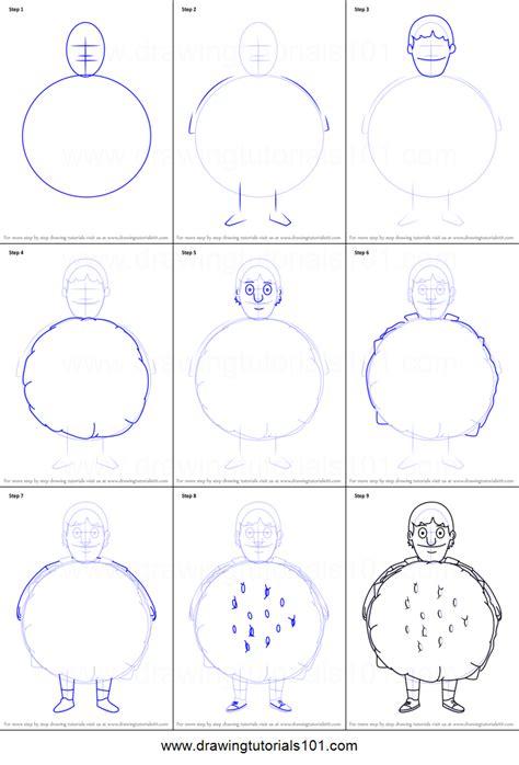 draw gene belcher  bobs burgers printable step  step drawing sheet