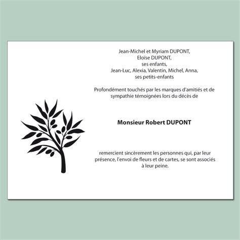 modele carte remerciement deces carte de remerciements deuil avec rameau d olivier stylis 233