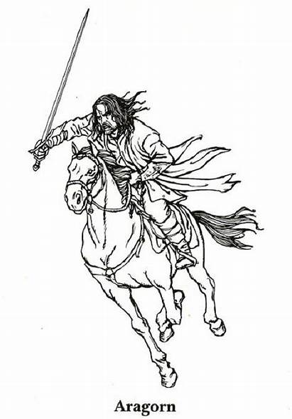 Lord Rings Coloring Pages Hobbit Aragorn Colouring
