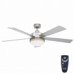 Hampton bay sussex ii in indoor brushed nickel ceiling fan with light kit and remote control